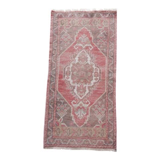 "Distressed Small Turkish Oushak Rug 1'8"" X 3'5"" For Sale"