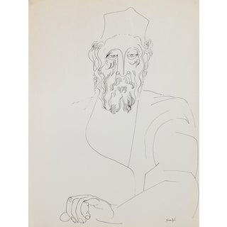 Contemplative Man in Hat 1960-80s Ink Drawing For Sale