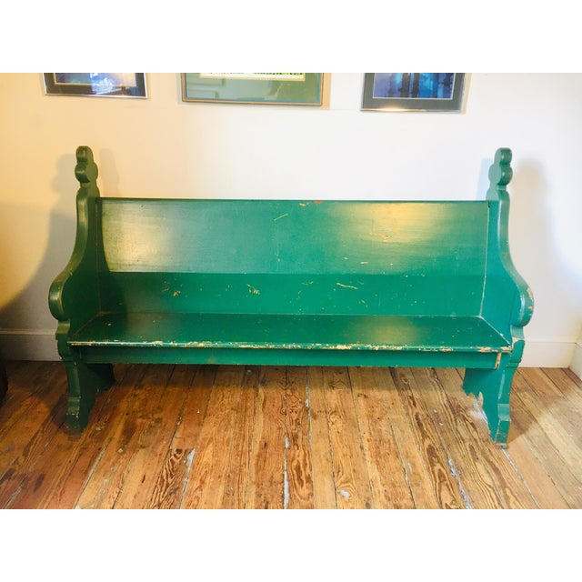 Late 19th Century Vintage Emerald Green Vernacular Gothic Pew For Sale - Image 11 of 11