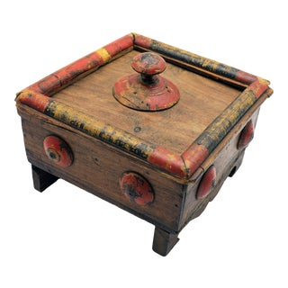 19th Century Antique Afghan Wood Spice Box For Sale