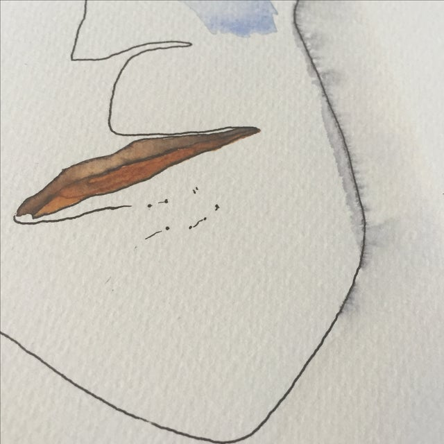 Abstract Face Watercolor Painting - Image 3 of 8