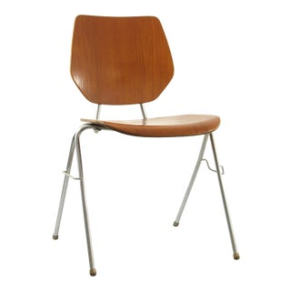 1960s Vintage Danish Stackable Plywood Chair For Sale