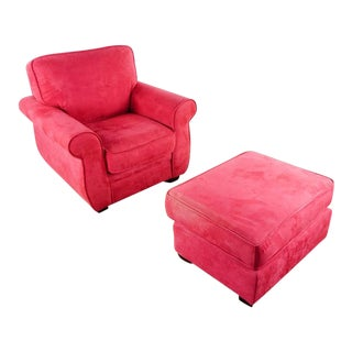Vintage Red Upholstered Armchair and Ottoman - 2 Pieces