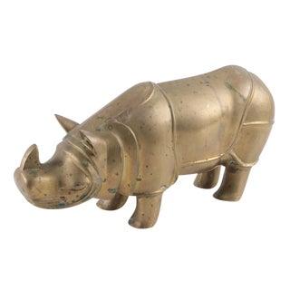 Vintage Brass Rhino Statue
