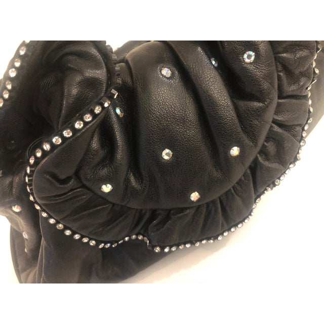 Mid-Century Modern 1980s Crystal Embeliished Ruched Calfskin Clutch For Sale - Image 3 of 8