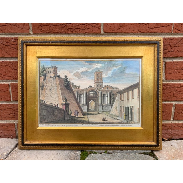 Early 20th Century Antique Porta S. Spirito Framed Hand-Colored Engraving For Sale - Image 10 of 10