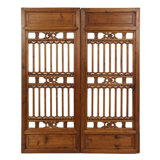 Brown Chinese Antique Carved Window Shutters For Sale - Image 8 of 8