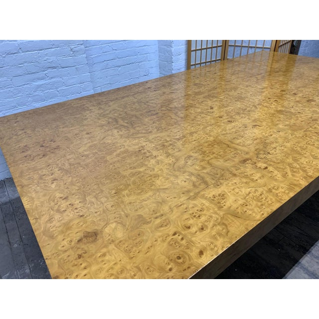 Milo Baughman Burl Wood Dining Table With Two Leaves For Sale In New York - Image 6 of 8
