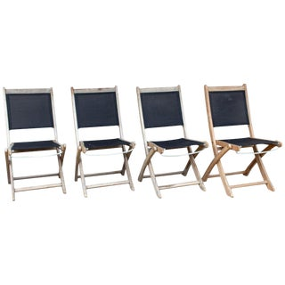 Vintage French Teak and Nylon Folding Outdoor Chairs - Set of 4 For Sale