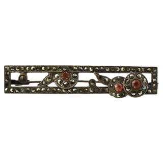 20th Century Art Deco Marcasite & Sterling Brooch For Sale