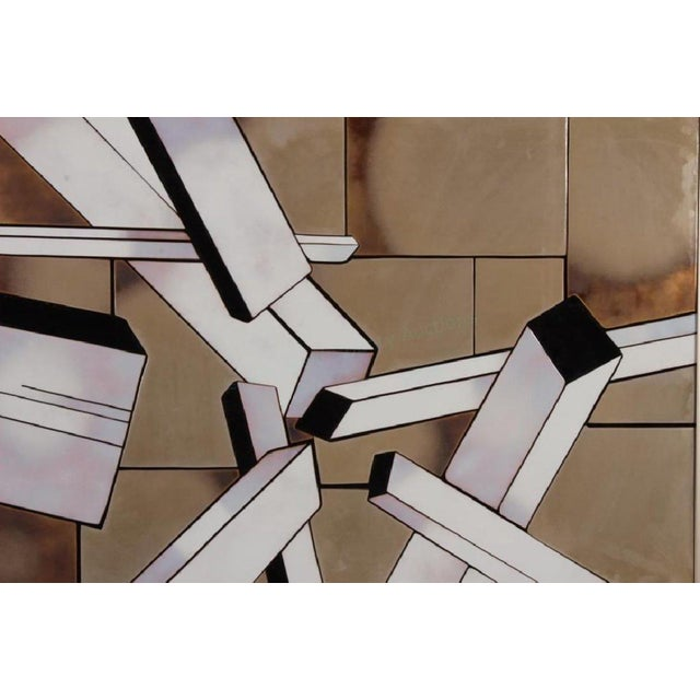 Enameled tile metal framed triptych by Shirley Rosenthal (1924-2015) featuring an abstract geometric city-scape titled and...