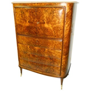 1950s Osvaldo Borsani Attributed Tall Cabinet with Marble Top and Parchment Interior For Sale
