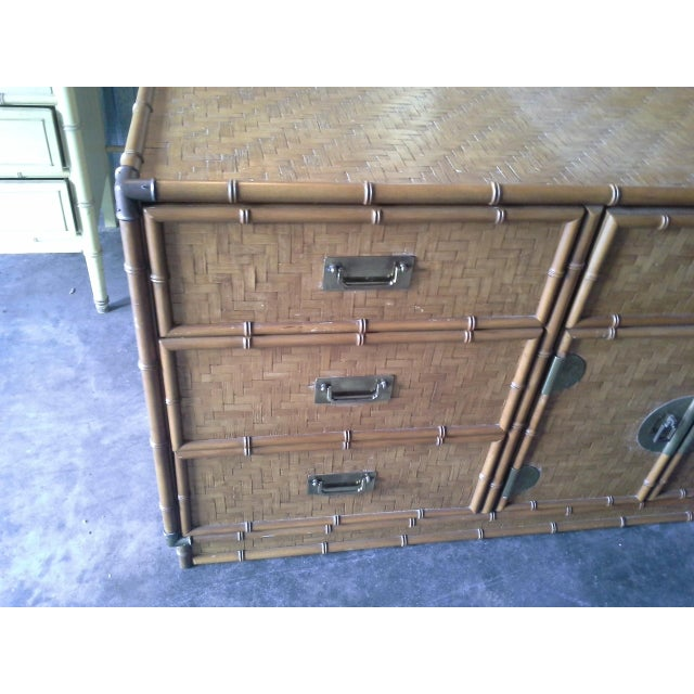 Boho Chic Dixie Furniture Co. Boho Bamboo & Woven Wicker Dresser For Sale - Image 3 of 11