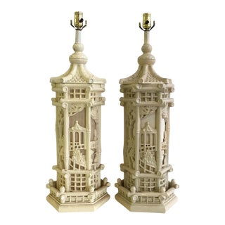1960s Faux Bamboo Chinoiserie Style Pagoda Lamps - a Pair For Sale