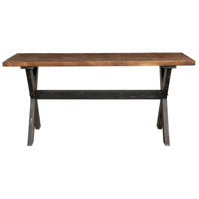 "Thick and sturdy 2"" top reclaimed wood table top with clear sealer and distressed wood black painted X legs. There are 4..."