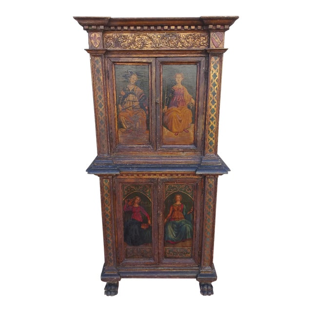 19th Century Italian Hand Painted Polychromed Giltwood Claw Footed 2 Piece Cupboard For Sale
