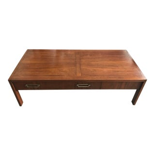 Baker Modern Walnut Coffee Table For Sale