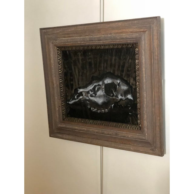 Americana Black and White Watercolor of an Animal Skull For Sale - Image 3 of 11