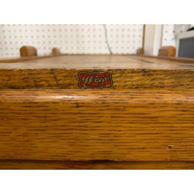 1910s Oak Industrial Three Drawer File Cabinet by Weis For Sale In Chicago - Image 6 of 7
