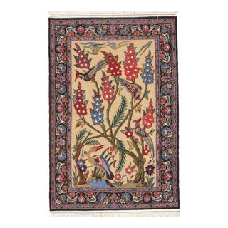 "Persian Isfahan Handmade Silk & Wool Rug-2'3'x3'4"" For Sale"