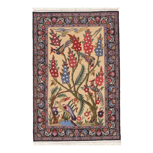"Persian Isfahan Handmade Silk & Wool Rug-2'3'x3'4"" For Sale"