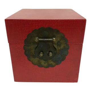 Vintage Chinese Cranberry Wood Brass Box For Sale