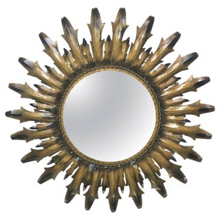 Mid-Century Modern Round Sunburst Mirror For Sale