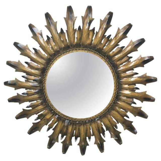 Mid-Century Modern Round Sunburst Mirror - Image 1 of 7
