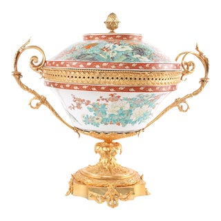 Early 20th Century Large Bronze Mounted Imari Porcelain Footed Centerpiece For Sale