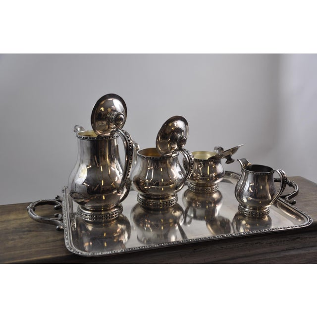 French Silverplated Coffee Tea Serving Set - 5 Pieces For Sale - Image 11 of 12