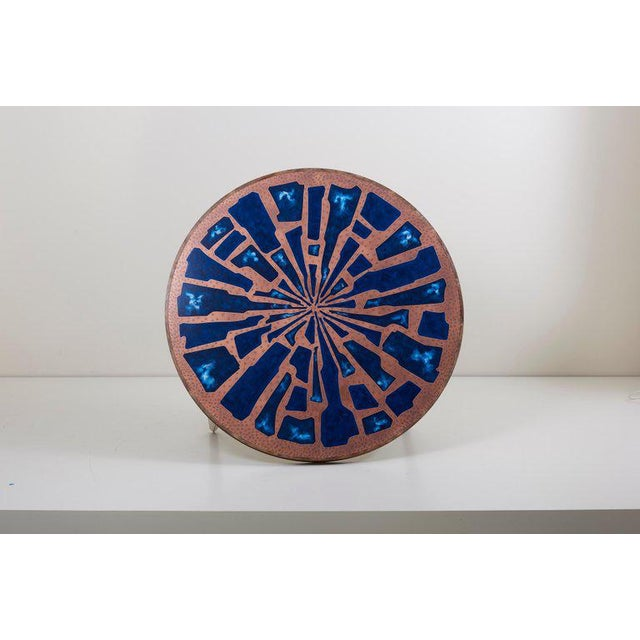 Copper Stunning Rare Wood Coffee Table With Copper and Enamel Top by Behr For Sale - Image 7 of 9