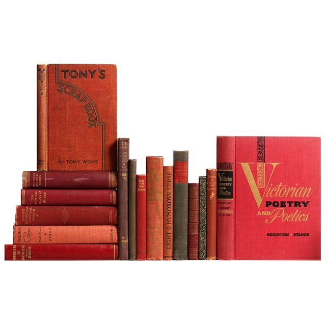 Distressed Red & Brown Poetry Books - Set of 16 - Image 1 of 2