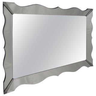 Massive Hollywood Regency Moderne Scalloped Bevelled Mirror For Sale