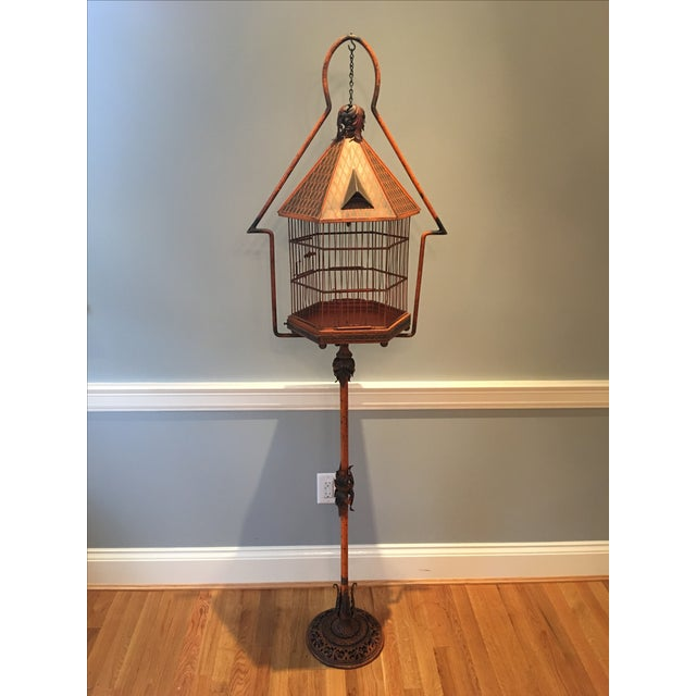 Antique 1920s Pnf Birdcage & Decorative Stand - Image 2 of 9