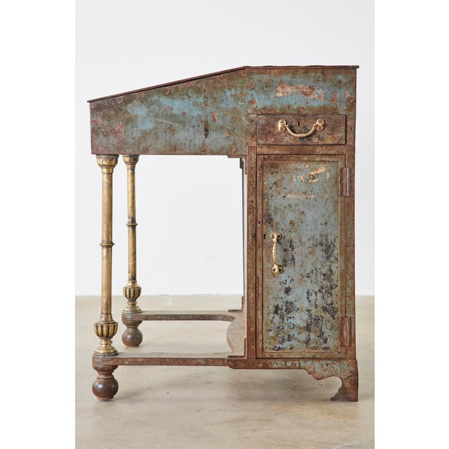 19th Century English Iron Bronze Industrial Davenport Desk For Sale - Image 9 of 13