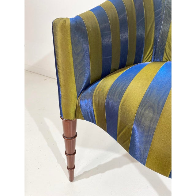 Mid 20th Century Elegant Upholstered Accent Chair With Turned Legs Attributed to Donghia For Sale - Image 5 of 10