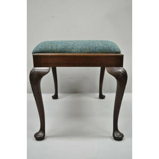 Early 20th Century Antique Queen Anne Mahogany Upholstered Vanity Piano Bench Preview