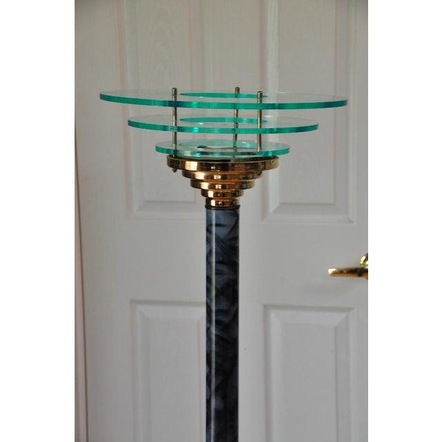 Mid-Century Modern Designer 1990s Mid-Century Modern Acrylic Torchiere Floor Lamp For Sale - Image 3 of 10