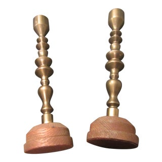 Set of 2 Heavy Vintage Brass Candle Holders