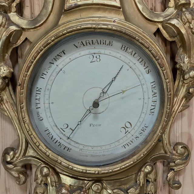 Late 18th Century 18th Century Giltwood Hand Carved Barometer - Thermometer For Sale - Image 5 of 11