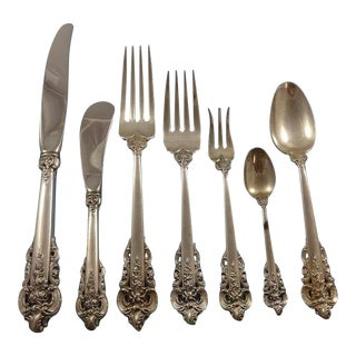 Grande Baroque by Wallace Sterling Silver Flatware Set for 8 Service 59 Pieces For Sale