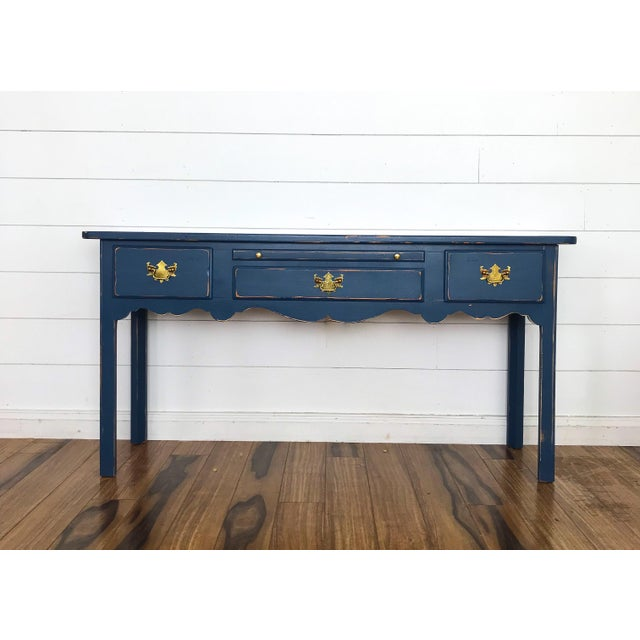 Modern Farmhouse Navy Desk/Console Table For Sale - Image 6 of 6