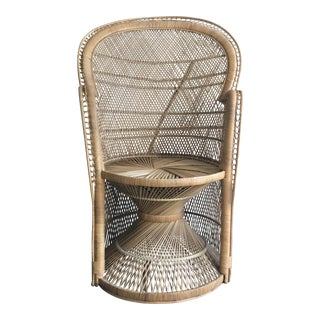 1960s Boho Chic Woven Wicker Peacock Chair For Sale
