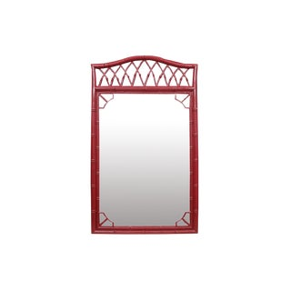 Thomasville Mid-Century Faux Bamboo Mirror For Sale