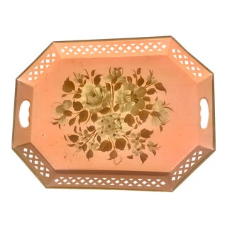 1980s Vintage Painted Floral Tray For Sale
