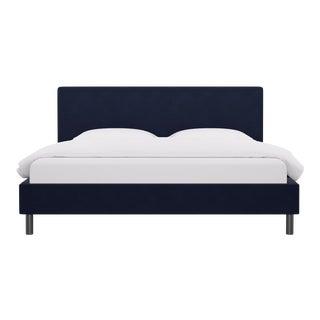 King Tailored Platform Bed in Navy Velvet For Sale