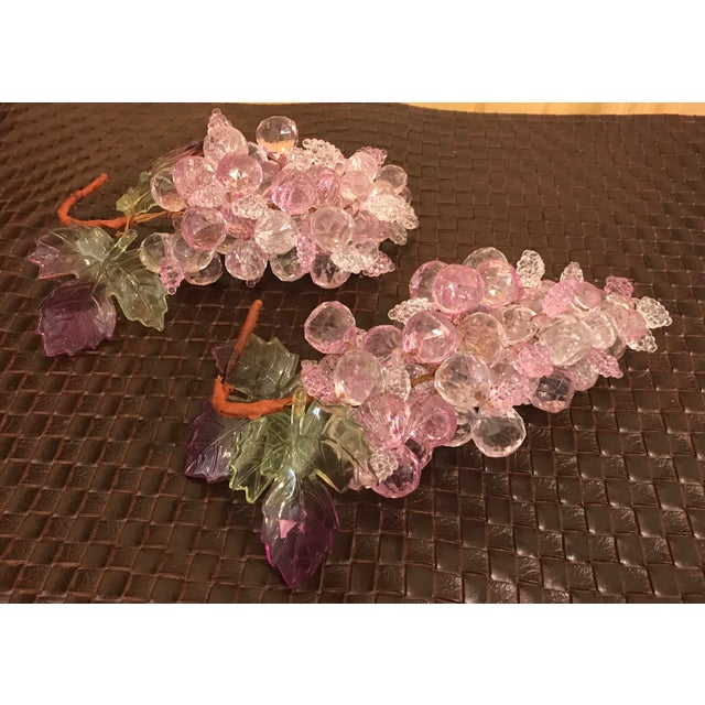 Pink & Clear Faceted Lucite Grapes - A Pair - Image 6 of 9