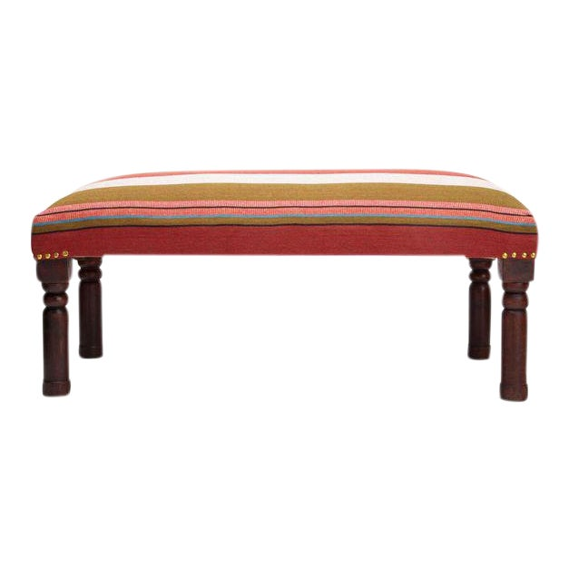 Handcrafted Handloom Upholstered Bench - Image 1 of 4