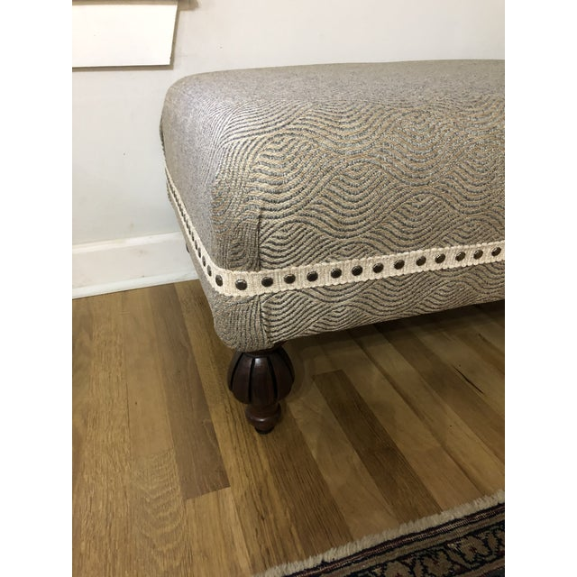 This ottoman is one of those pieces that can go anywhere. The fabric is neutral, a soft blue/grey and cream, and the style...