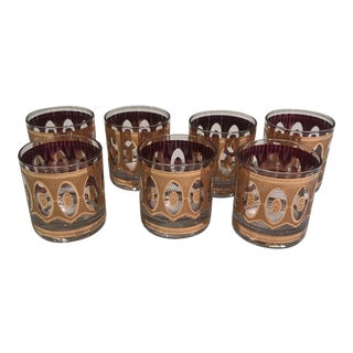 Mid Century Culver Gold On the Rocks Glasses - Set of 7 For Sale